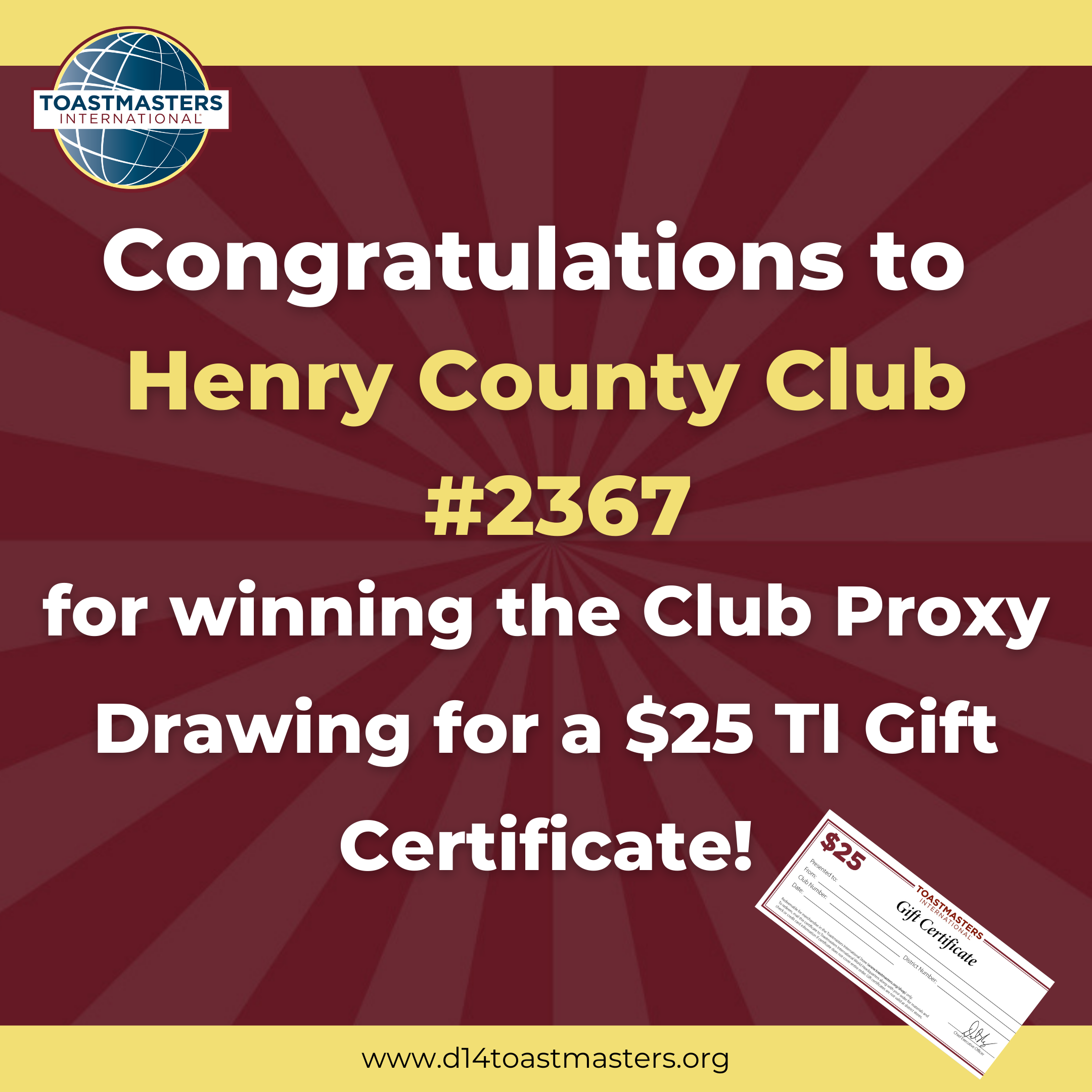 Congratulations to Henry County Club #2367 for winning the Club Proxy Drawing for a $25 TI Gift Certificate!