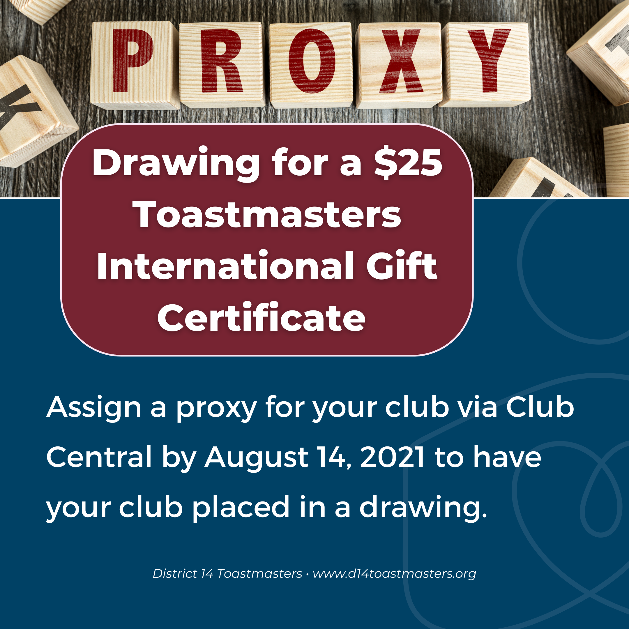 Drawing for a $25 Toastmasters International Gift Certificate