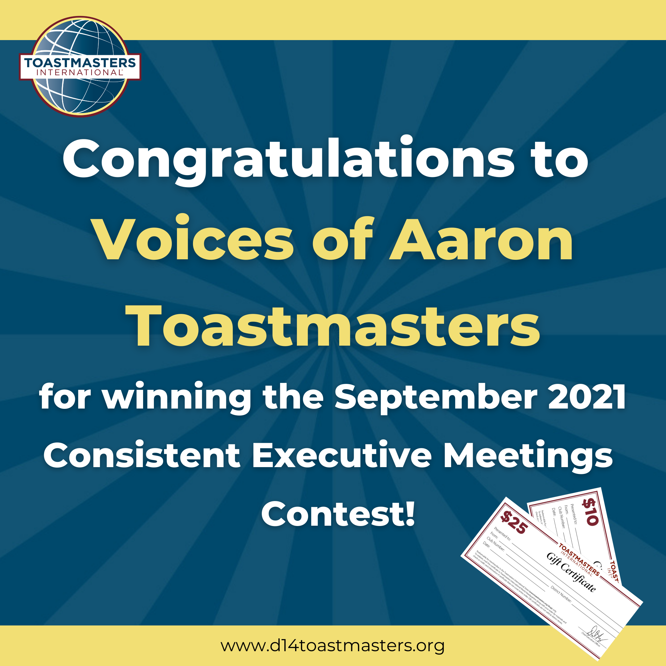 Congratulations to Voices of Aaron for winning the September 2021 Consistent Executive Meetings Contest!